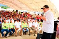 El Vicepresidente Germán Vargas Lleras durante el evento de entrega de casas.