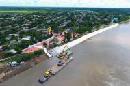 En la fotografía tomada desde el aire se observa la obra en el Canal del Dique.