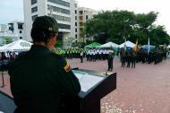 La coronel Sandra Vallejos, presentando el plan navidad segura.