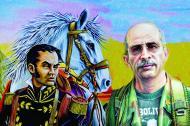 Imagen que acompaña el trino que hizo Iván Márquez, en la que aparece Simón Trinidad al lado de El Libertador Simón Bolívar.