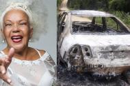 Loalwa Braz, cantante de lambada. Al lado el vehículo donde fue hallada incinerada.