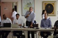 El gobernador del Atlántico, Eduardo Verano; el director de la CRA, Alberto Escolar, y el director del ICA, Luis Humberto Martínez.