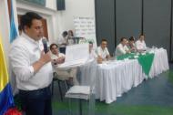 El ministro Rojas durante la apertura de la mesa técnica con alcaldes de Córdoba en el centro cultural y de convenciones de Córdoba.