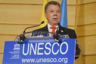 El presidente Juan Manuel Santos durante su intervención en la sede de la Unesco.