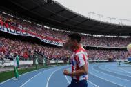 Teófilo Gutiérrez se mostró muy contento este lunes festivo durante su presentación como nuevo jugador de Junior.