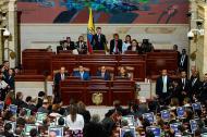 El presidente Santos al momento de dar su discurso ayer durante la instalación del último periodo legislativo.