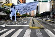 La Avenida Francisco de Miranda permanecía este jueves desolada por efectos del paro general de 48 horas en Venezuela.