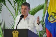 El presidente Juan Manuel Santos durante su intervención este viernes en la UAC.