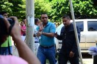El concejal de Valledupar, Leonardo Mestre, cuando era conducido a la audiencia de legalización.