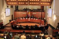 Aspecto de una audiencia pública en los recintos de la Corte Constitucional, en la ciudad de Bogotá.