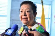 María Estela Aguilar, directora de Fiscalía en el Cesar, en la rueda de prensa.