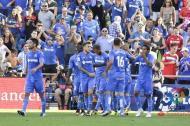 Los jugadores del Getafe celebran la clara contundente victoria sobre el Villarreal.