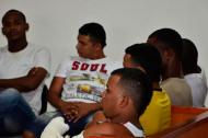 Seis de Los Papalópez durante la audiencia por un atentado en el que resultaron 6 muertos y 8 heridos.