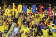 Hinchas de la Amarilla disfrutan de un juego de la Selección Colombia en el estadio Metropolitano.