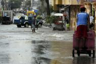 Aspecto de una de las calles de Barranquilla ayer tras el aguacero en horas del mediodía.