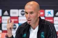 Zinedine Zidane, técnico del Real Madrid, durante la rueda de prensa concedida este miércoles.