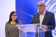 Delcy Rodríguez y Jorge Rodríguez, principal negociador del gobierno de Nicolás Maduro.