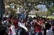 Estudiantes de la Universidad Autónoma durante la protesta del viernes.