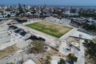 Panorámica aérea actual de cómo van las obras en el estadio Romelio Martínez. Según Gonzalo Baute, secretario de Deportes, el escenario está en un 92%.
