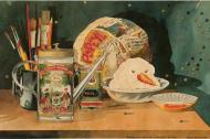 'Bodegón con espinacas y monstruo de puré', obra del artista Álvaro Barrios.