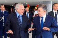 Michel Temer y Juan Manuel Santos en el encuentro de este martes.