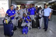 Los Heroicos tras su aterrizaje este miércoles en el aeropuerto Ernesto Cortissoz.