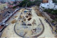 Vista aérea del Patinódromo, ubicado en el barrio Villa Santos. La obra está en 65% de ejecución.