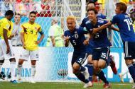 Los jugadores japoneses celebran el tanto de Yuya Osako.