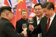 Kim Jong Un y el presidente chino Xi Jinping.