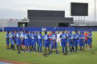 El equipo colombiano de béisbol entrenó ayer en el estadio Édgar Rentería.