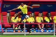 Los jugadores de Colombia entrenando en el Kazán Arena, escenario del partido de hoy.