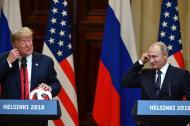 Trump y Putin durante la conferencia en Helsinki.