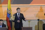 El presidente Juan Manuel Santos hablando ante el nuevo Congreso de la República.