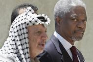 El 16 de junio de 2001, el líder palestino Yasser Arafat y el secretario general de la ONU, Kofi Annan, visitaron la ciudad cisjordana de Ramallah.