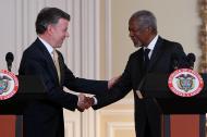 El expresidente Santos y Kofi Anaan, quién manifestó su apoyo al acuerdo de paz con las Farc.