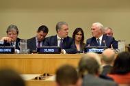 El presidente Duque con el vicepresidente Mike Pence en la reunión sobre la crisis migratoria de Venezuela.