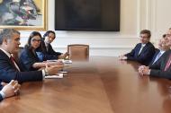 El juez Eduardo Ferrer, presidente de la Corte Interamericana de Derechos Humanos en reunión con el presidente de la República, Iván Duque.