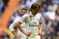 Reacción de Luka Modrić durante el partido.
