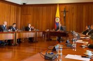 El expresidente César Gaviria en compañía de la bancada de Senado y Cámara del Partido Liberal en su visita a la Corte Suprema de Justicia.