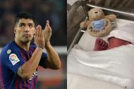 Luis Suárez y su nuevo hijo.