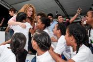 Shakira durante su visita a Barranquilla.