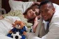 Sara Uribe, en compañís de Fredy Guarín, antes de entrar a labores de parto.