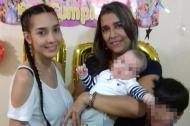 El último cumpleaños de Brenda Pájaro junto a su hija Gisella y sus nietos.