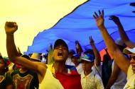 Manifestantes de la oposición en Caracas.