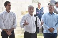Juan Guaidó, presidente interino reconocido por 50 países, Luis Almagro, secretario de la OEA, e Iván Duque, presidente de Colombia.