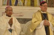 Monseñor Julio César Vidal, obispo emérito de  Cúcuta (izq.) y monseñor José Clavijo, obispo de la diocésis de Sincelejo.
