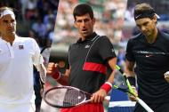 Novak Djokovic, Rafael Nadal y Roger Federer.