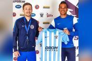 Oliver Antonio Fula Perea luciendo la camiseta del Speranta Nisporeni F.C.