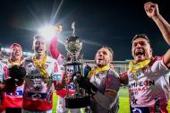 Germán Gutiérrez, Escalante, Cantillo, Hinestroza, Viera y Teo celebrando el título de la Liga Águila I.