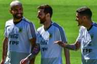 Sergio Aguero, Lionel Messi and Rodrigo De Paul.